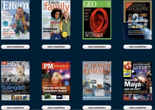 Neujahrskampagne 2013 von Gruner + Jahr - Diverse Zeitschriften im günstigen Abo durch Prämien