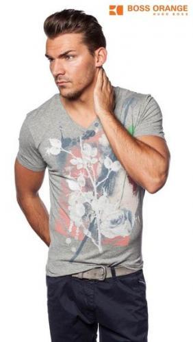HUGO BOSS Herren V-Neck T-Shirt Gr S M L XL 2XL 3XL Texus 2 Orange Label für 19,29 €