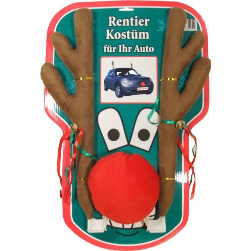 Rentier Kostüm Auto mit Geweih und roter Nase