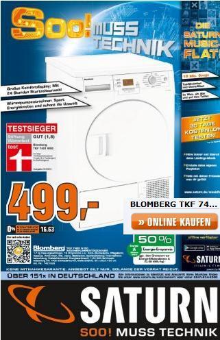 Blomberg Stiftung Warentest Testsieger Trockner für 499 Euro Saturn Werbung