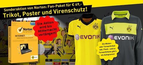 Edit:  ab Sonntag 14:00Uhr  wieder da: BVB Trikot inkl. Flock (plus Autogramm) + Poster mit ORIGINAL-Unterschriften + NORTON Internet Security (12 Monate) für 69,-€ (statt ca 135.-€)