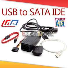 USB 2.0 to SATA IDE 2.5 3.5 Hard Drive HDD Adapter 5,36 EUR inkl. Versand