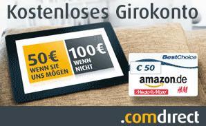 Comdirect Girokonto über GMX mit 50,- Euro Bestchoice und mehr
