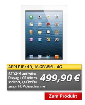 Apple Ipad 3 Wi-Fi + 4G 16GB weiß bei MP