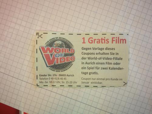 [Lokal Aurich] 1 gratis Film oder Spiel mit Coupon bei WoV