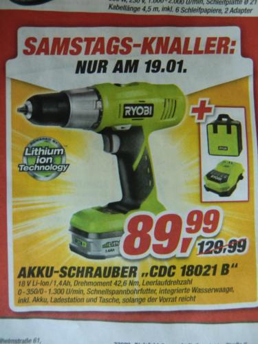Ryobi Akku-Schrauber CDC 18021 B, 18 V Li-Ion, 42,6 Nm Drehmoment - TOOM Samstags-Knaller am 19.01.