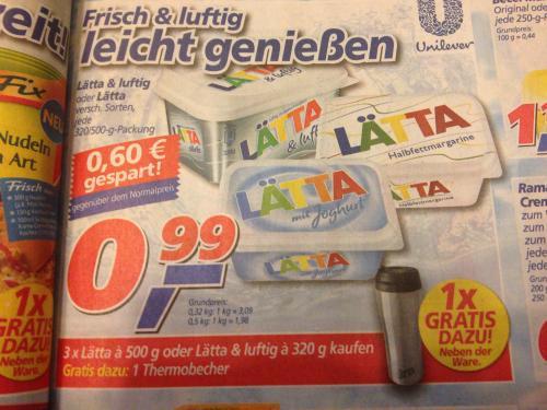 [Bundesweit]3 x Lätta Kaufen und einen Thermobecher Umsonst