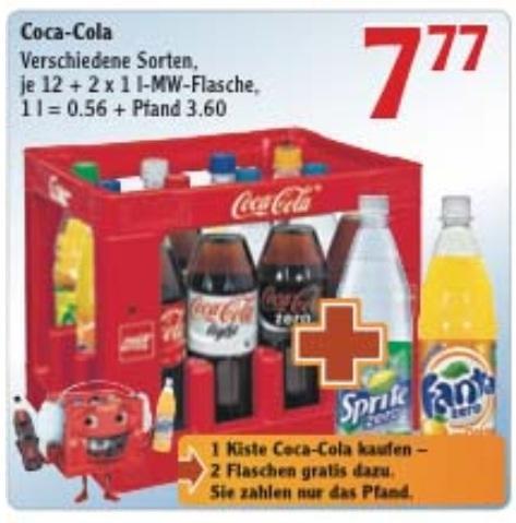 [Lokal] Globus SB-Warenhaus Lahnstein, Kaiserslautern, Gensingen, St. Wendel und Stockstadt Coca-Cola für 0,56€/l