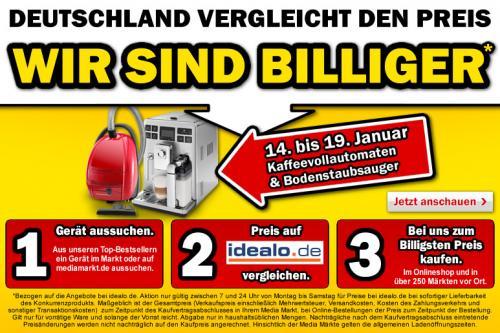 """Media Markt """"Deutschland vergleicht den Preis""""-Aktion bundesweit für Staubsauger & Kaffeevollautomaten"""