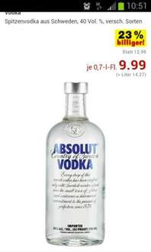 Absolut Vodka  0.7 Bundesweit???