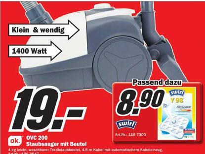 !!Top!! OVC 200 Staubsauger mit Beutel 1400 Watt! lokal beim MediaMarkt Papenburg!