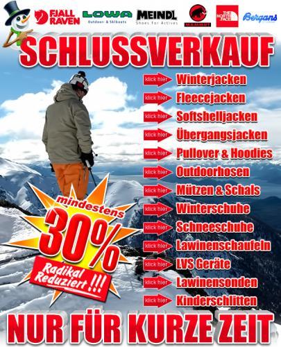 30% WSV online Aktion - aktuelle Winterbekleidung und Schuhe von Mammut, Meindl, Lowa, North Face, Bergans, FjällRäven...