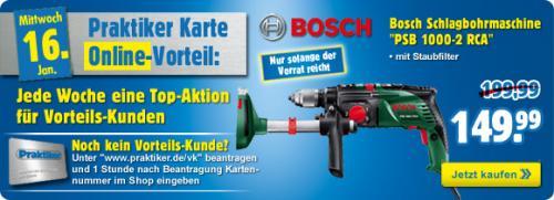Bosch PSB 100-2RCA Schlagbohrmaschine mit Praktiker Kundenkarte und Bosch-Cashback