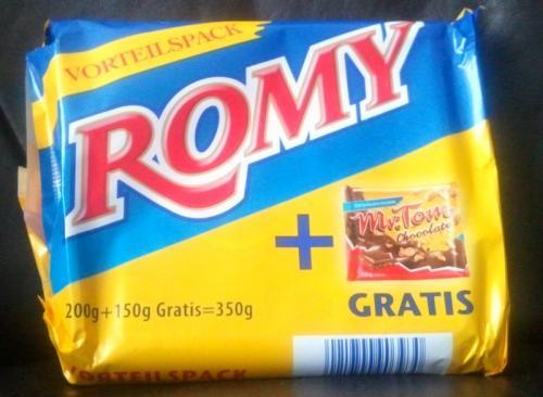 ROMY 200g + Mr Tom  150g Gratis dazu somit 350g Schokolade