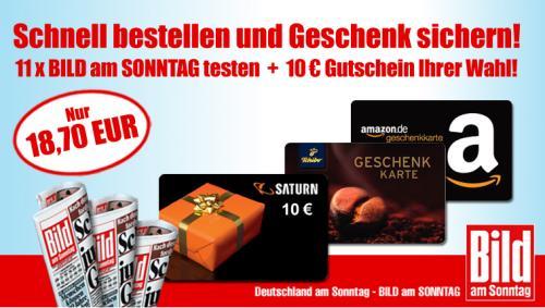 11 x Bild am Sonntag incl. 10€ Amazon o. Saturn Gutschein
