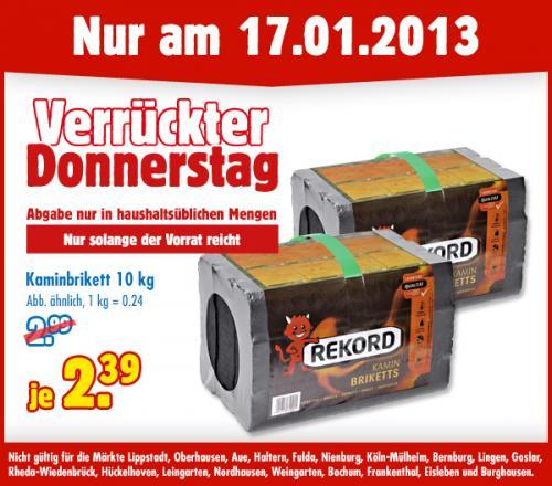 [Hornbach] nur Heute: 10kg Kohle Briketts  € 2,15