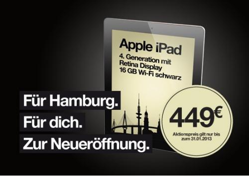 [lokal] Apple iPad Wi-Fi 16GB schwarz (4. Generation) für 449€ bei einsnulleins