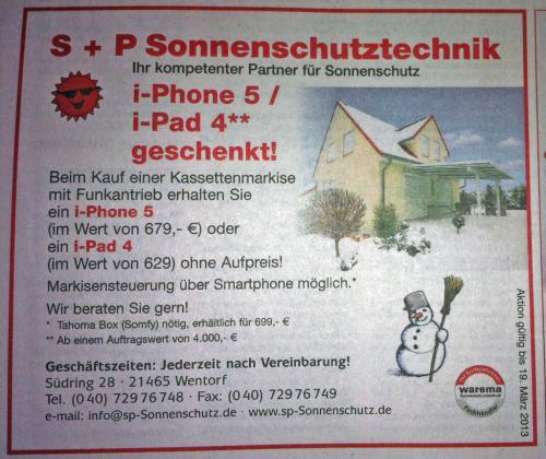 Lokal: Wentorf bei Hamburg - iPhone 5 oder iPad 4 beim Markisenkauf gratis dazu!