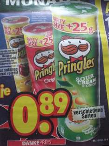 190g Packung Pringles versch. Sorten bei Segmüller  für 0,89€