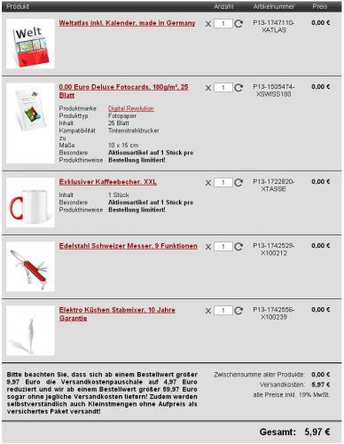 Stabmixer, Schweizer Messer, Weltatlas, 25 Fotocards und einen Kaffeebecher für 5,97€