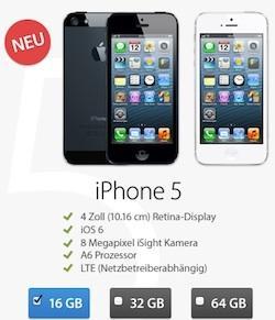 iPhone 5 (16GB) mit All-Net Flat, Quasi-SMS-Flat, Internetflat für 39,95 EUR mtl. im VODAFONE-Netz