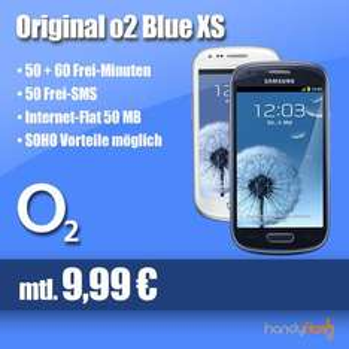 Samsung Galaxy S3 mini i8190 für 0€ mit O2 Blue XS zu monatlich €9,99 mit 110Min-Aktion