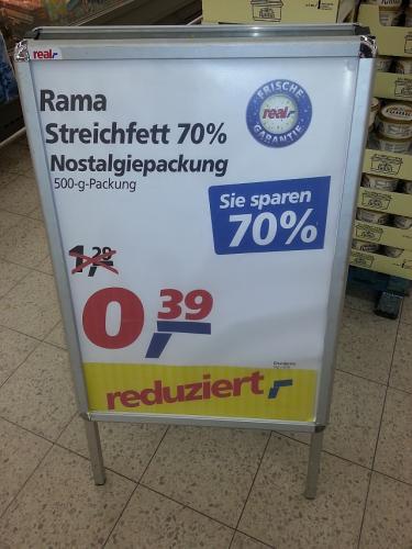 [real,-] SB-Center Halle-Neustadt Rama Nostalgiepackung 500g für 0,39€