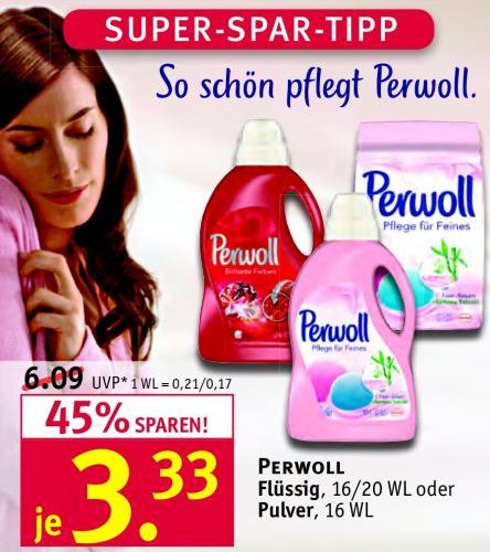 Perwoll Waschmittel (Flüssig/Pulver) für 3,33€ bei Rossmann