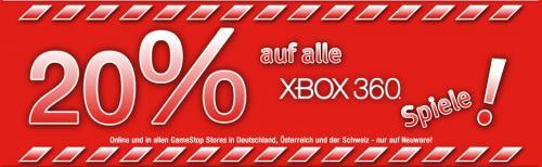20 % auf alle XBox360 Games bei Gamestop
