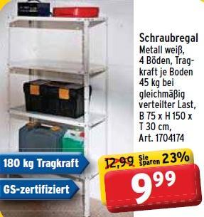 [Max Bahr] Schraubregal Metall weiß, 4 Böden, Tragkraft 180 kg (je Boden 45 kg) B 75 x H 150 x T 30 cm