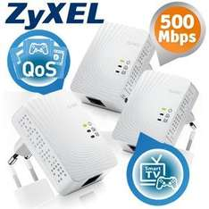 3-er Pack ZyXEL PLA4201 500Mbps Mini Powerline Ethernet Adapter