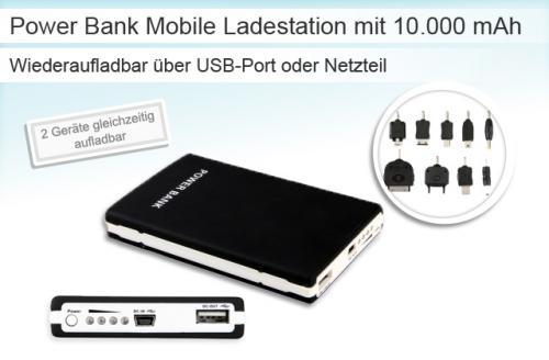 Power Bank Mobile Ladestation Ladegerät mit 10000mAh für 24,99€