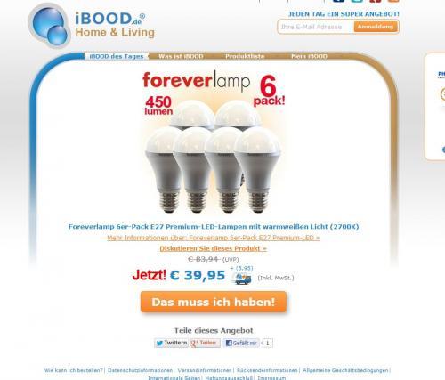 Foreverlamp 6er-Pack E27 Premium-LED-Lampen mit warmweißen Licht (2700K) @iBood