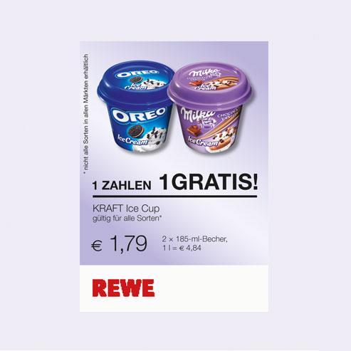 [OFFLINE] Für Schleckermäuler: OREO / Milka, zwei Becher Eis, einen zahlen, zweiter gratis  bei REWE, kaufpark und toom markt