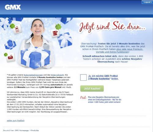 """GMX 3 Monate ProMail gratis + """"Schöne Neujahrs-Überraschung"""""""