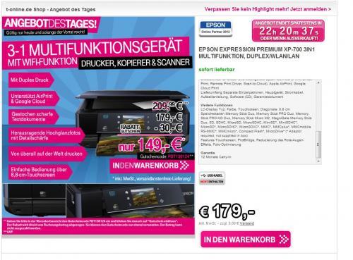 [T-Online] Epson Expression Premium XP-700 3-in-1 Multifunktionsdrucker @ 149€ + Qipu