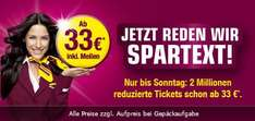 Germanwings: 2 Millionen Tickets ab 33,-€ (inkl. Meilen)