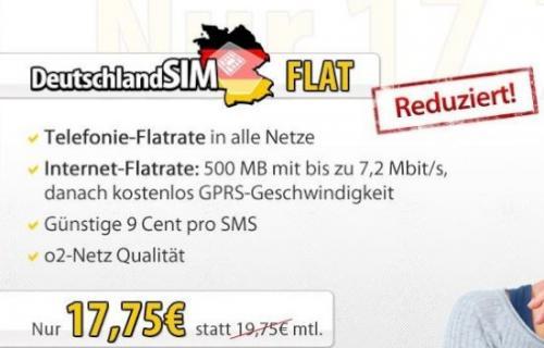 DeutschlandSIM reduziert Allnet-Flat im o2-Netz auf 17,75 Euro