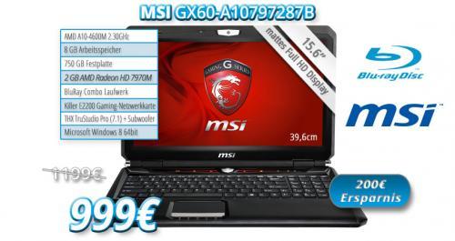 MSI GX60 Gaming-Notebook mit AMD Radeon HD7970M (2GB) / 15,6 Zoll FullHD Display / 8GB RAM / 750GB HDD/ BluRay Laufwerk / Killer Netzwerkkarte für nur 999€ (200€ Ersparnis)!!!