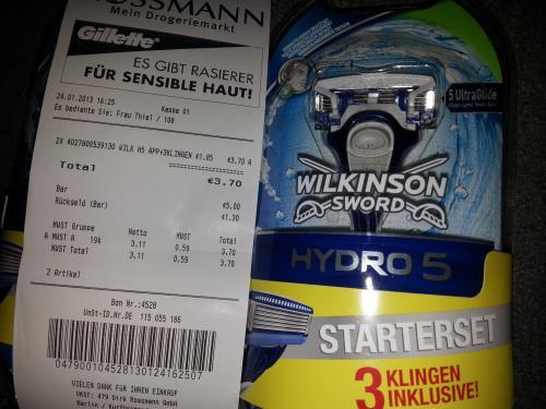 Wilkinson Hydro 5 Starterset = Rasierer plus drei Klingen @ Rossmann für 1,85€