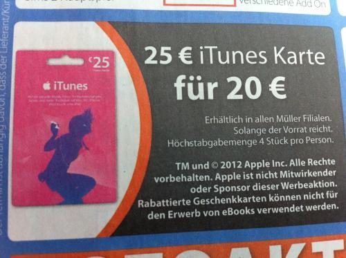 25€ iTunes Karte für 20€ @müller