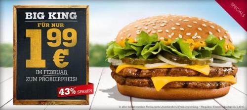 [Burger King]Big King im Probierpreis einzeln für 1,99€ ab Dienstag, 29.01.