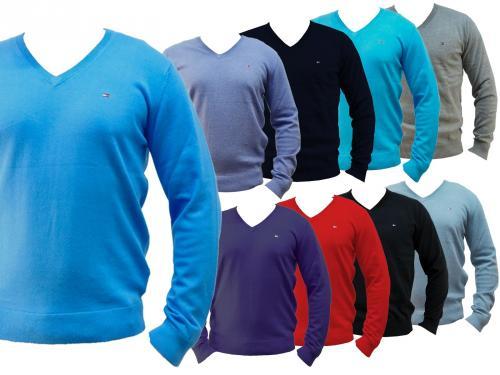 Tommy Hilfiger V Neck Pullover aus Baumwolle - diverse Größen und Farben