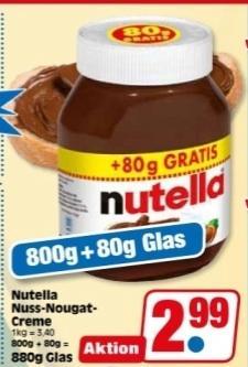 [Lokal] ab 28.1.2013: Nutella 880g Glas für 2,99 bei NP (Niedrig Preis), evtl. bundesweit?