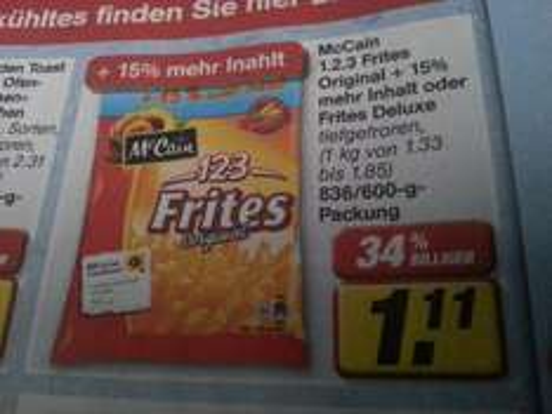 "toom ""bundesweit"" - McCain 123 Frites deluxe Pommes für 0,11€ mit Coupon"