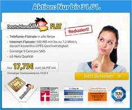 [DeutschlandSIM] AllNet Flat + 500 MB (o2-Netz) + 5 € Cashback via Qipu