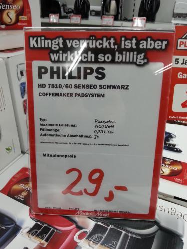 (offline & lokal) Philips HD 7810/60 Kaffeepadmaschine Senseo Schwarz im MM Halle/Saale (Peissen) 29 Euro
