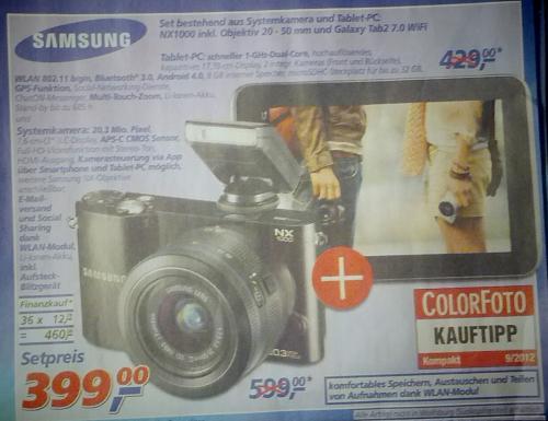 REAL Samsung NX1000 + Samsung Tab 2 7.0 Wifi Bundle für € 399 (auch Saturn online)