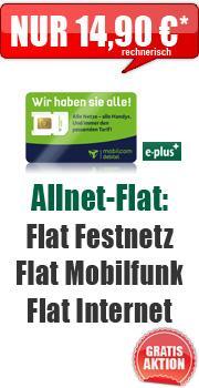 Allnet-Flat + 500 MB Internet nur 14,90 € / Monat