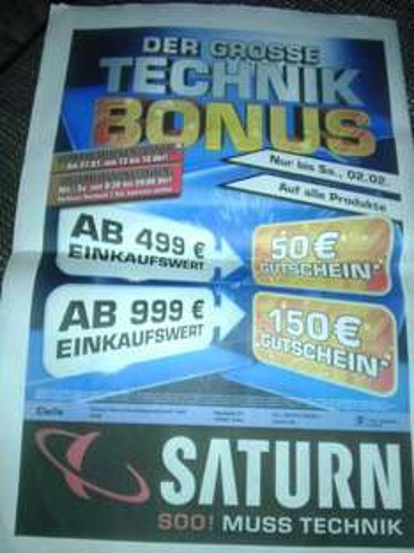 Technik-Bonus bei Saturn Celle 10-15% lokal celle